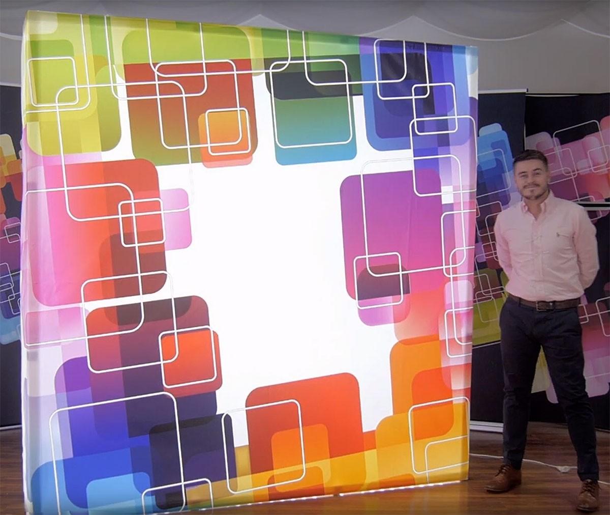 Backlit Hopup 10' Straight Tension Fabric Display
