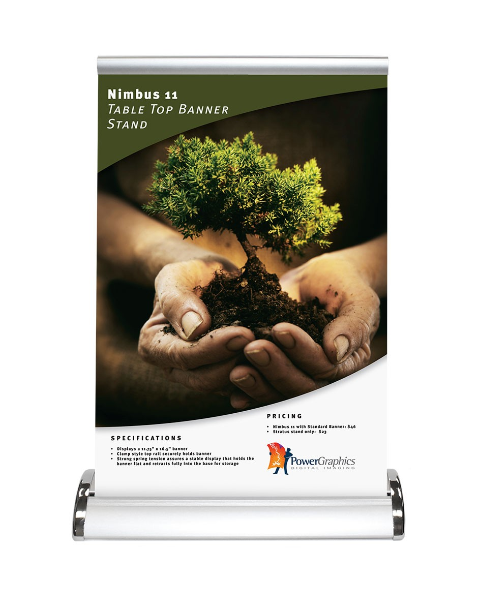 Retractable Table Top Displays -  nimbus 11 table top retractable banner stand