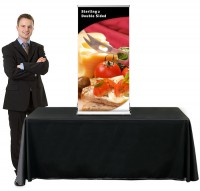 Sterling 2 Table Top 24 Double Sided Retractable Banner Stand