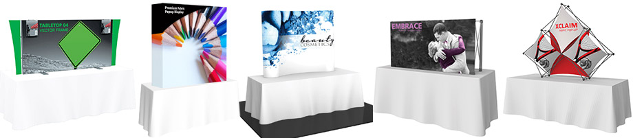 tension fabric table top displays