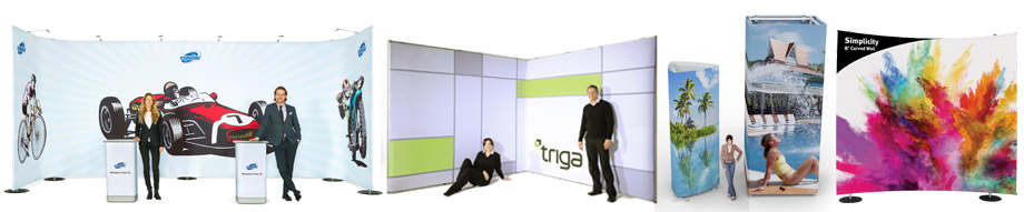 Adjustable tension fabric trade show displays
